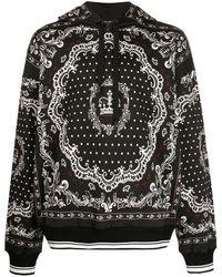 Dolce & Gabbana Hoodie Met Bandana Print - Zwart