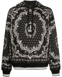 Dolce & Gabbana Bandana-print Cotton Hooded Sweatshirt - Black