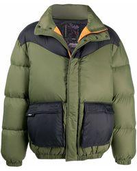 MSGM バイカラー パデッドジャケット - グリーン