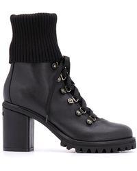 Le Silla Block Heel Ankle Biker Boots - Black