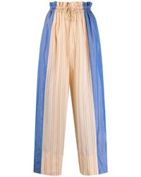 Forte Forte Striped Two-tone Trousers - Blue