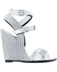 Philipp Plein High Wedge Sandals - Metallic