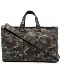 Orciani Camouflage-print Leather Tote Bag - Green