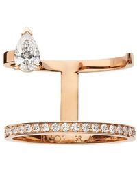 Repossi 18kt Rose Gold Serti Sur Vide Diamond Ring - Metallic