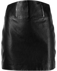 Michelle Mason コルセット レザーミニスカート - ブラウン