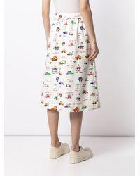 Mira Mikati Car Print A-line Skirt - White
