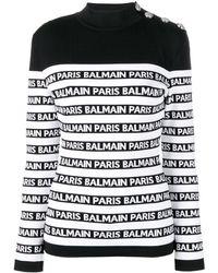 Balmain ロゴストライプ セーター - マルチカラー