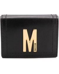 Moschino Porte-cartes à plaque logo - Noir