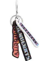 Burberry Tag Print Leather Key Chain - Multicolour