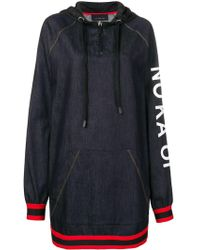 NO KA 'OI Printed Stripe Trim Zip Hoodie Dress - Blue