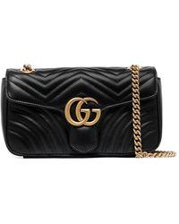 Gucci Большая Сумка На Плечо GG Marmont - Черный
