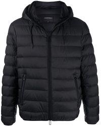 Emporio Armani Padded Hooded Jacket - Black