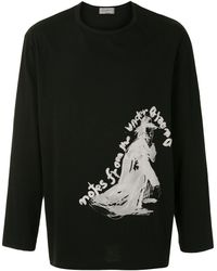 Yohji Yamamoto グラフィック スウェットシャツ - ブラック