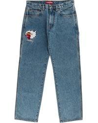Supreme Logo Patch Jeans - Blue