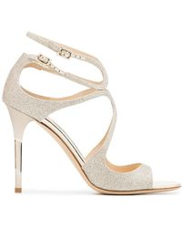 Jimmy Choo - Metallic Lang 100 Glitter Leather Sandals - Lyst