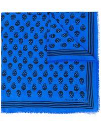 Alexander McQueen Sjaal Met Doodskopprint - Blauw