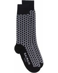 Balmain モノグラム 靴下 - ブラック