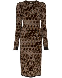 Fendi Ff Logo Jacquard Jumper Dress - Brown