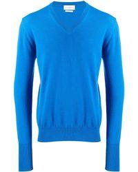 Ballantyne Jersey de punto con cuello en V - Azul