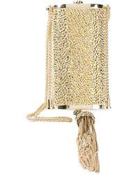 Roberto Cavalli タッセル装飾 ボックスクラッチ - メタリック
