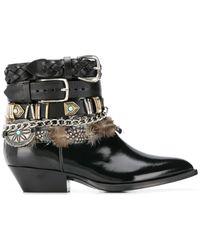 Philosophy Di Lorenzo Serafini Multi-buckle Feather-trim Boots - Black