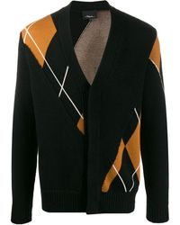 3.1 Phillip Lim Argyle V-neck Cardigan - Black