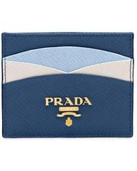 Prada Saffiano Leather Credit Card Holder - Blue