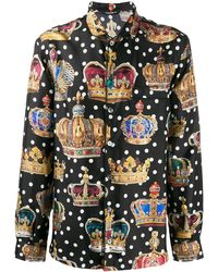 Dolce & Gabbana Crown Print Shirt - Multicolour