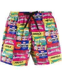 Moschino Chewing Gum Print Swim Shorts - Pink