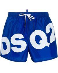 DSquared² Badeshorts mit Logo-Print - Blau
