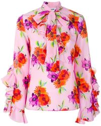 MSGM - Floral Print Ruffle Blouse - Lyst