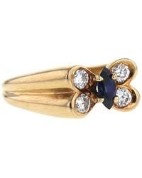 Van Cleef & Arpels 1980s Pre-owned Yellow Gold Butterfly Sapphire And Diamond Ring - Metallic