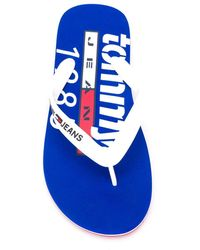 Tommy Hilfiger Flip-Flops mit Logo - Blau