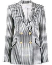 10 Crosby Derek Lam Rodeo Double Breasted Gingham Twill Blazer - Blue