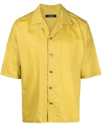Attachment Buttoned-up Short-sleeved Shirt - Yellow