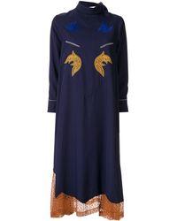Toga Mesh Hem Dress - Blue
