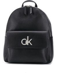 Calvin Klein Рюкзак Из Искусственной Кожи С Металлическим Логотипом - Черный