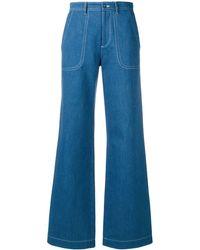 A.P.C. Contrast Stitch Flared Jeans - Blue