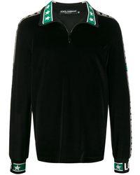 Dolce & Gabbana Zip-up logo stripe sweatshirt - Nero