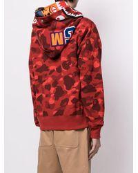 A Bathing Ape Hoodie zippé à imprimé camouflage - Rouge