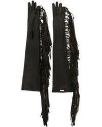 DSquared² フリンジ 手袋 - ブラック