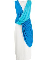 AALTO Sleeveless Draped Dress - White