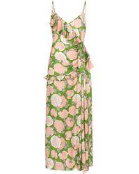 Miu Miu Платье Макси С Цветочным Принтом И Оборками - Зеленый