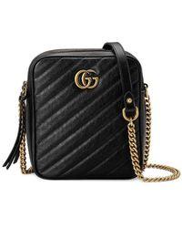 4232e480f04c Gucci GG Marmont Matelassé Leather Shoulder Bag in Black - Lyst