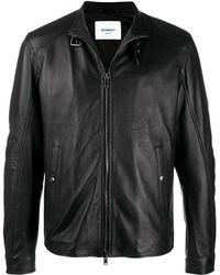 Dondup バックルカラー レザージャケット - ブラック