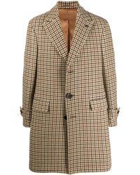 Gabriele Pasini Single-breasted Check Coat - Natural