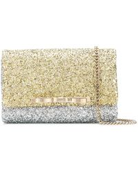 RED Valentino - Red(v) Bow-detail Glitter Clutch - Lyst