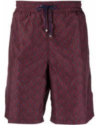 Billionaire Lion Head-motif Drawstring-waist Swim Shorts - Red