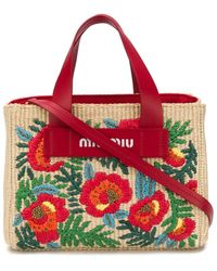 Miu Miu Sac cabas à fleurs brodées - Rouge