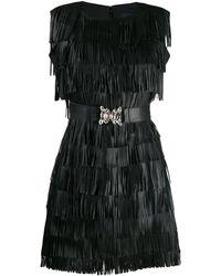 Class Roberto Cavalli Fringed Mini Dress - Black